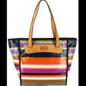 Fossil keyper multicolor stripe coated canvas tote
